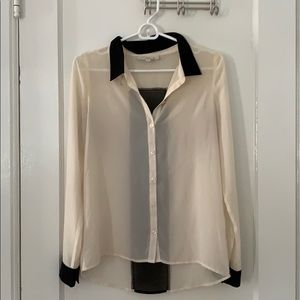 Black & white sheer Olive & Oak blouse